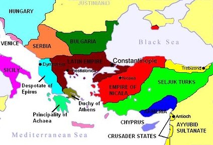 After 1204, the Byzantine Empire was partitioned between various successor states, with the Latin Empire in control of Constantinople