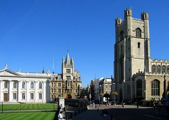 Great St Mary's Church marks the centre of Cambridge, while the Senate House on the left is the centre of the University. Gonville and Caius College is in the background.