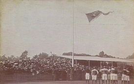 "The ritual of hoisting of the premiership flag in Australian sporting culture dates back to 1895 and is an enduring symbol in Australian sporting culture and particularly Australian rules football.  ""The Flag"" is figuratively still as important as ""the Cup"" in the VFL/AFL long after a premiership trophy was introduced in 1959.  This is the premiership flag flown the Carlton Football Club in 1907 for the premiership it won in the 1906 Grand Final."
