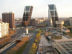 Plaza de Castilla, in which highlight the Gate of Europe, the Calatrava's Obelisk and the 1960 Monument to José Calvo Sotelo (this last monument has been criticized by many of the citizens of Madrid).