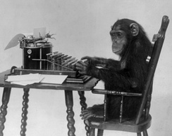 Chimpanzee probably not typing Hamlet