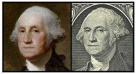Comparison between Gilbert Stuart's 1796 Athenaeum Portrait and the image on the obverse of the bill. The image from the dollar bill above shows the subject flipped horizontally for ease of comparison.