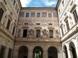 Cartouches decorating courtyard of the Palazzo Spada in Rome by Borromini (1632)
