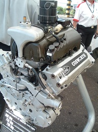 A 2004 Ford Cosworth Champ Car World Series V8 engine, capable of generating over 800 hp (597 kW; 811 PS) from 161 cu in (2.6 L)