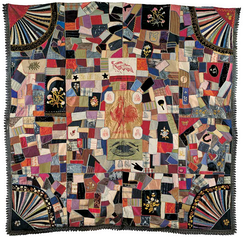 A crazy quilt in support of the Democratic ticket from the collection of the American Folk Art Museum, featuring the Democratic Rooster (precursor of the Donkey) at center and photos of Cleveland and Hendricks below.