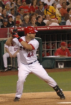 Napoli batting for the Los Angeles Angels in 2007