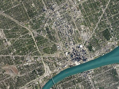 A satellite picture of the Detroit metro area.