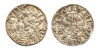 AR penny, minted in Chichester under Cnut the Great between 1024-1030 AD. Moneyer: Leofwine.