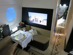 Etihad The Residence Apartment with bedroom, living room and an en-suite shower room on Airbus A380-800