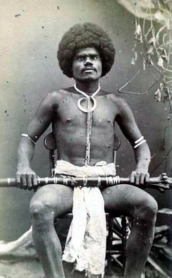 A Fijian mountain warrior, photograph by Francis Herbert Dufty, 1870s