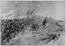 French bayonet charge, 1914; huge casualties in the early months of the war had to be replaced by French colonial troops.