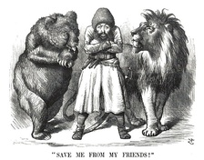 "Political cartoon from the period of the Great Game showing the Afghan Amir Sher Ali with his ""friends"" Imperial Russia and the United Kingdom (1878)"