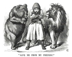 An 1878 British cartoon about The Great Game between the United Kingdom and Russia over influence in Central Asia