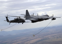 USAF HC-130P refuels a HH-60G Pavehawk helicopter