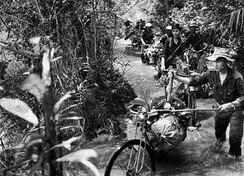 In the early days of the Ho Chi Minh trail, bicycles were often used to transport arms and equipment from North Vietnam to South Vietnam.