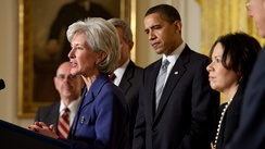 Sebelius accepting her nomination by President Barack Obama as Secretary of Health and Human Services