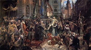 Constitution of May 3, 1791 (painting by Jan Matejko, 1891). Polish King Stanisław August (left, in regal ermine-trimmed cloak), enters St. John's Cathedral, where Sejm deputies will swear to uphold the new Constitution; in background, Warsaw's Royal Castle, where the Constitution has just been adopted.