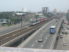 A flyover at EDSA on its intersection with Quezon Avenue.