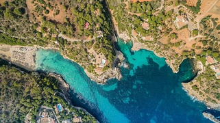 Aerial of Cala Llombards beach