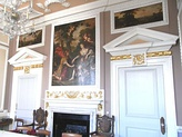 The Mayor's Parlour in the Guildhall. The room was originally in Stowe House and was acquired for incorporation into the South Molton Guildhall designed 1739–43[1]