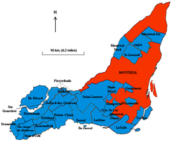 The municipalities of the Island of Montreal prior to the 2002 merger of all municipalities on the island.