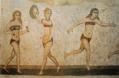 "4th-century mosaic from Villa del Casale, Sicily, showing ""bikini girls"" in an athletic contest"