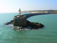 The west breakwater prevents shingle from blocking the mouth of the river at Newhaven