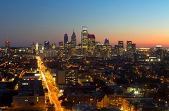 Philadelphia skyline, looking south from Temple University's Morgan Hall on Broad Street