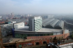 Manchester Piccadilly Station, the busiest of the four major railway stations in the Manchester station group with over 27 million passengers using the station in 2017.[118]