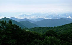 The Blue Ridge Mountains as seen from the Blue Ridge Parkway.