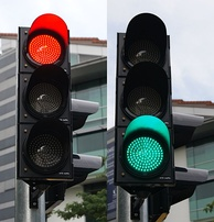 Red and green LED traffic signals