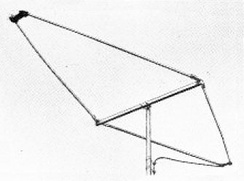 Small rhombic UHF television antenna from 1952.  Its broad bandwidth allowed it to cover the 470 to 890 MHz UHF television band.