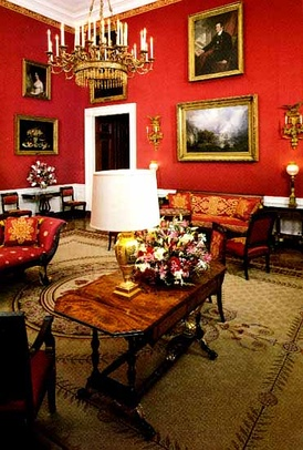 The White House Red Room before refurbishment during the administration of Bill Clinton.
