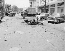 Scene of a Việt Cộng bombing in a residential area of Saigon, 1965.
