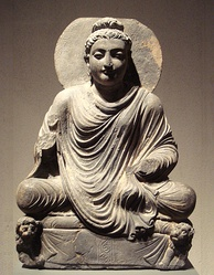 Seated Buddha, Gandhara, 2nd century CE. The Buddha linked conscience with compassion for those who must endure cravings and suffering in the world until right conduct culminates in right mindfulness and right contemplation.