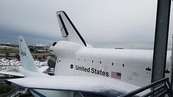 Space Shuttle Independence replica covered in snow, 2017