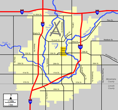 Primary geographic features of Sioux Falls.