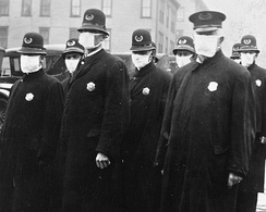 Seattle police wearing masks in December 1918