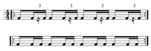 Bottom: even duple subdivisions of the beat Top: swung correlative—contrasting of duple and triple subdivisions of the beat  Play straight drum pattern (help·info) or  Play swung pattern (help·info)
