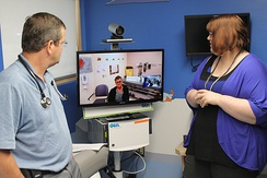 New telecommunication equipment for nurses and doctors at  Health Sciences North/Horizon Santé-Nord (HSN) in Ontario, Canada.