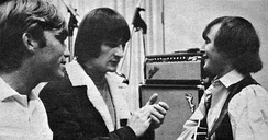 Terry Melcher (left) with the Byrds' Gene Clark and David Crosby