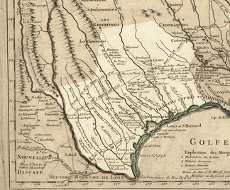 Texas in 1718, Guillaume de L'Isle map, approximate state area highlighted, northern boundary was indefinite.