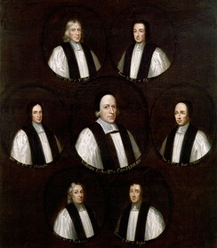 Group portrait of the Seven Bishops whom James ordered imprisoned in the Tower of London in 1688, but who were acquitted of charges of seditious libel.
