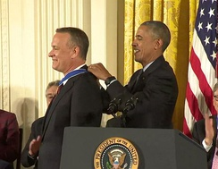 President Obama bestowing the Presidential Medal of Freedom to Mr. Hanks in 2016