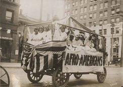 "This parade float displayed the word ""Afro-Americans"" in 1911."