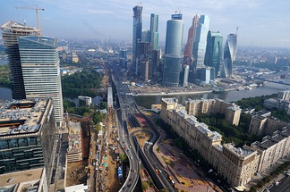 The Third Ring Road in the area of the Moscow International Business Center.