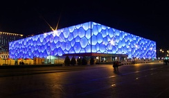 "The Beijing National Aquatics Center, dubbed ""The Water Cube"""