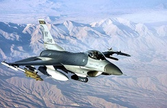 138th Expeditionary Fighter Squadron F-16C 86-0249 over Afghanistan in support of Operation Enduring Freedom on 29 November 2003