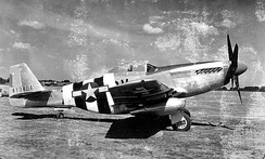 368th Fighter Squadron P-51D Mustang 44-13404 in D-Day markings, RAF East Wretham, England.