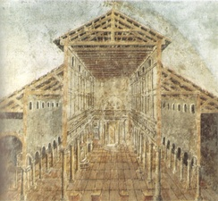 A fresco showing Old St Peter's Basilica, built in the 4th century: the central area, illuminated by high windows, is flanked by aisles.